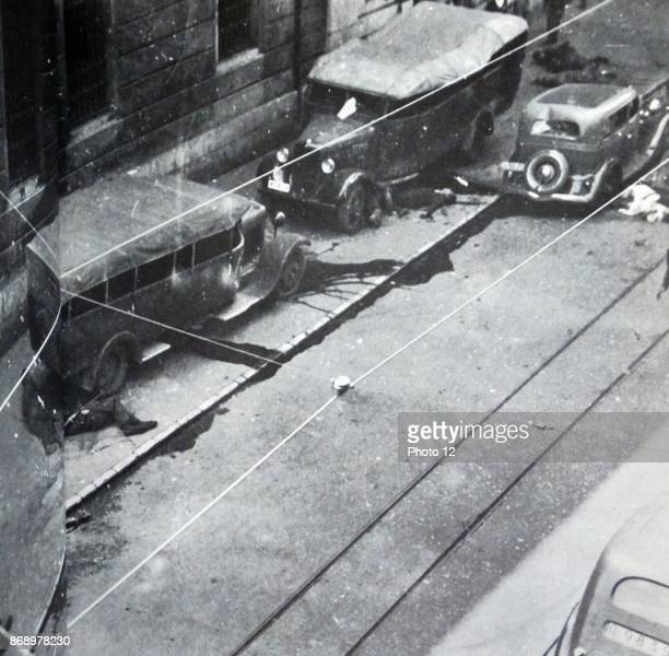 Casualties and injured lie on the streets during the Siege of Gijon one of the first actions in the Spanish Civil War The siege saw the anarchist...