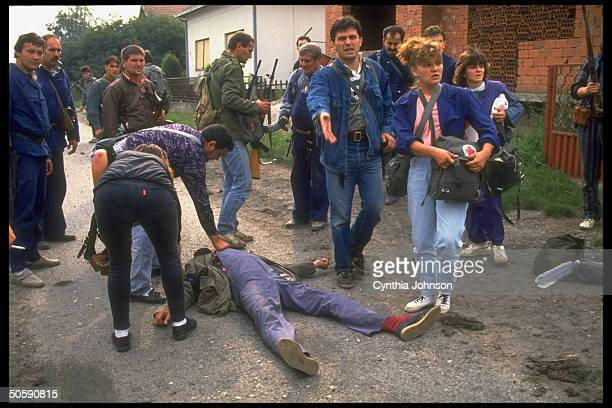 Casualty evacuated by Red Crosstypes in civil war pitting Croatians vs ethnic Serbs resisting incorporation into independent Croatia
