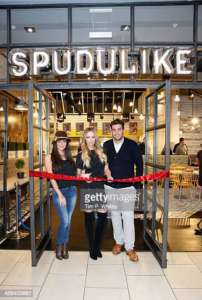 Casy Batchelor with Lauren Pope and James Argent from 'The Only Way Is Essex' help cut the ribbon at the Spudulike opening at Lakeside Shopping...