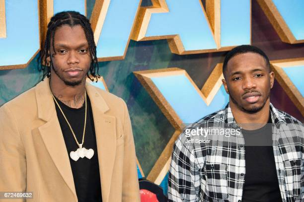 Casyo Johnson and Karl Wilson Krept and Konan attend the European Gala Screening of 'Guardians of the Galaxy Vol 2' at Eventim Apollo on April 24...