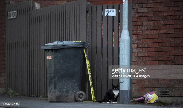 A cat a 'beware of the dog' sign and a floral tribute outside the house in Chaucer Grove Atherton where the body of a 14year old girl thought to be...