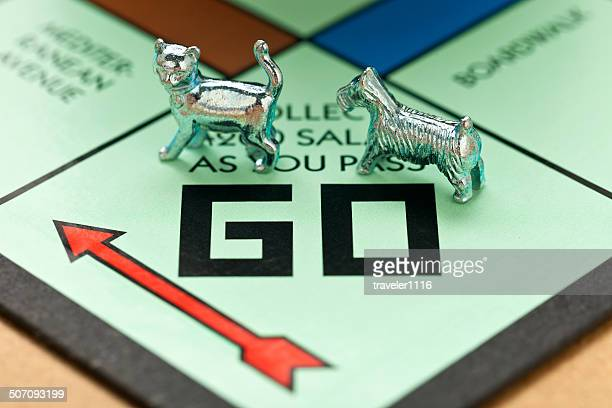 Cat And Dog Pieces On Monopoly Board