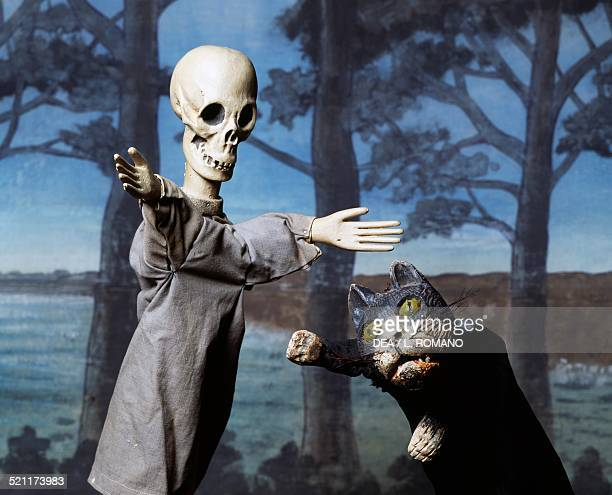 Cat and skeleton puppet from the Paolo Grassi School Milan Italy Italy