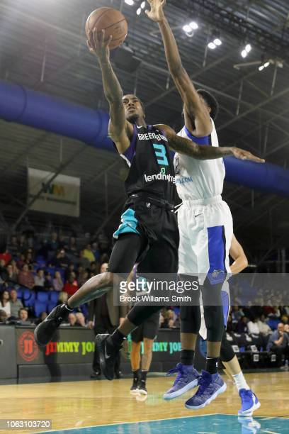 Cat Barber of the Greensboro Swarm goes to the basket against the Lakeland Magic during the NBA GLeague on November 17 2018 at the Greensboro...