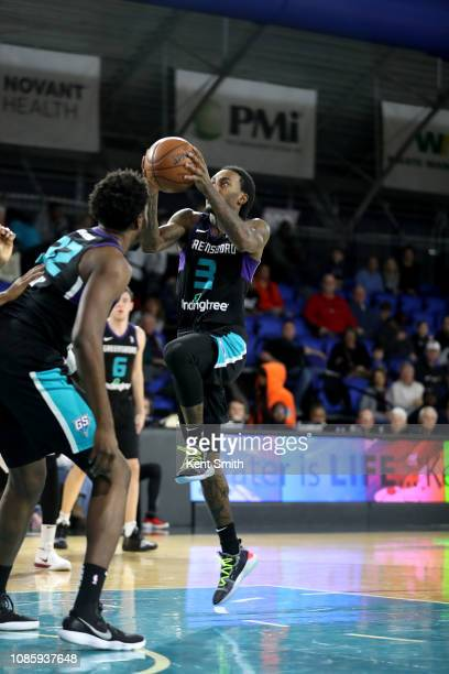 Cat Barber of the Greensboro Swarm handles the ball against the Canton Charge on January 21 2019 at Greensboro Coliseum Fieldhouse in Greensboro...