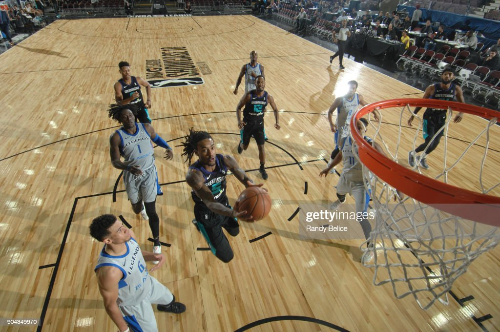 Cat Barber #5 of the Greensboro Swarm shoots the ball against the Texas Legends at NBA G League Showcase Game 17 on January 12, 2018 at the Hershey Centre in Mississauga, Ontario Canada.