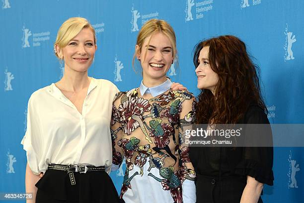 Cat Blanchett, Lily James and Helena Bonham Carter attend the 'Cinderella' photocall during the 65th Berlinale International Film Festival at Grand...
