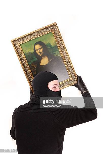 Cat Burgler Stealing the Mona Lisa