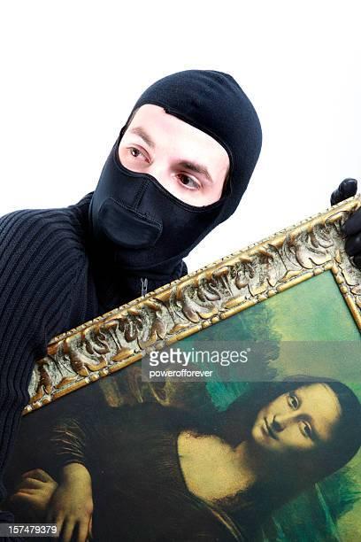 Katze Burgler stehlen die Mona Lisa