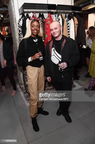 Cat Burns and Dan Crossley attend the Wolf Badger LFW Party during London Fashion Week February 2019 on February 14 2019 in London England