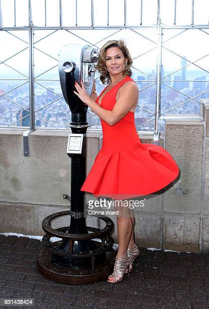 Cat Cora visits the Empires State Building on January 10 2017 in New York City