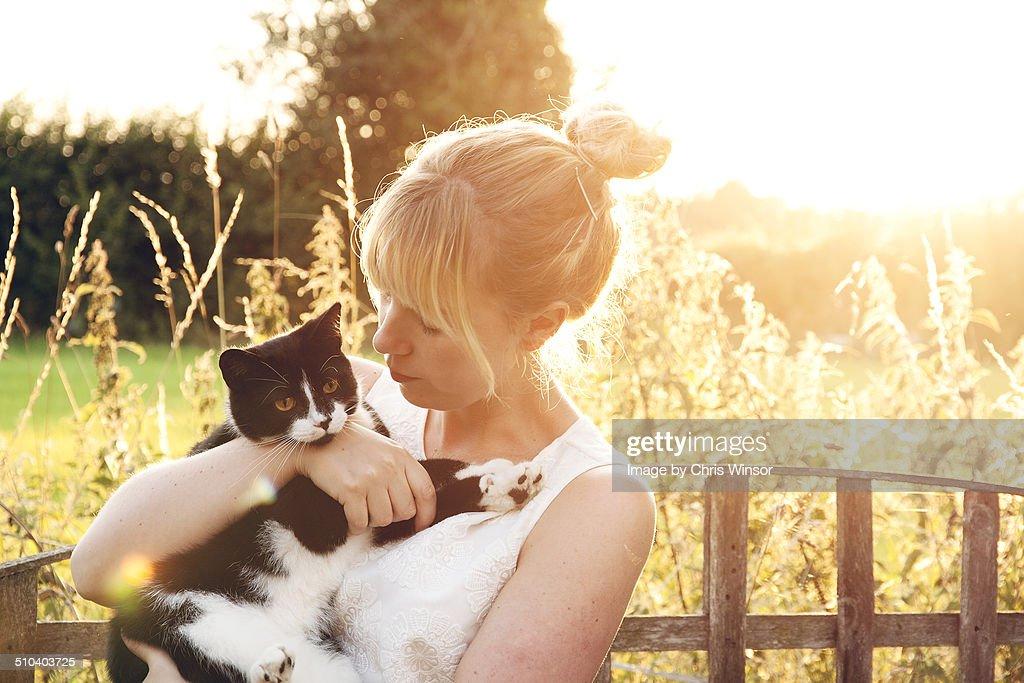 Cat cuddle : Stock Photo