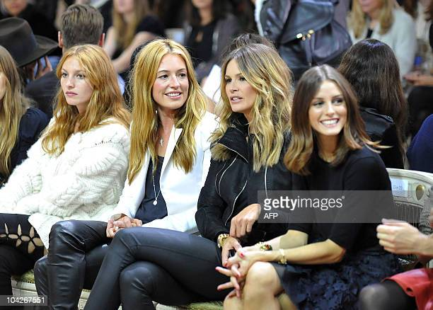 Cat Deeley and Elle Macpherson attend the Julien Macdonald Spring/Summer 2011 catwalk show on the third day of London Fashion Week in London on...