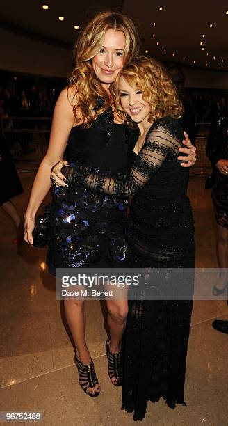 Cat Deeley and Kylie Minogue arrive at The Brit Awards 2010 at Earls Court One on February 16 2010 in London England