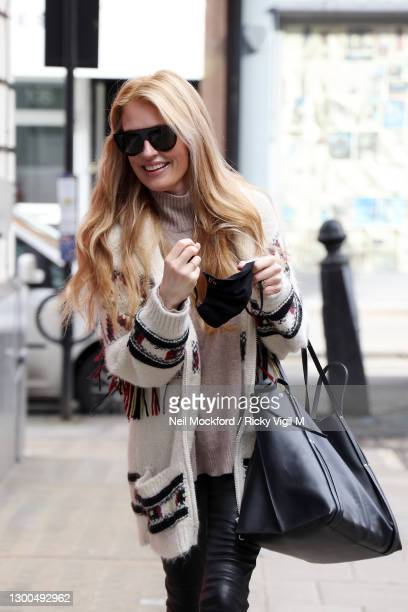 Cat Deeley arriving at BBC Radio 2 on February 05, 2021 in London, England.