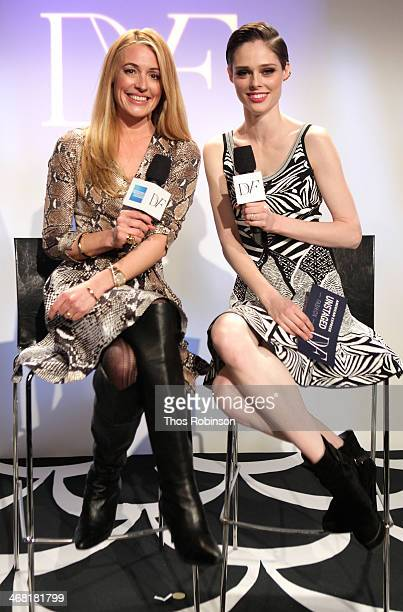 Cat Deeley interviews model Coco Rocha at the American Express UNSTAGED Fashion with DVF at Spring Studios on February 9 2014 in New York City