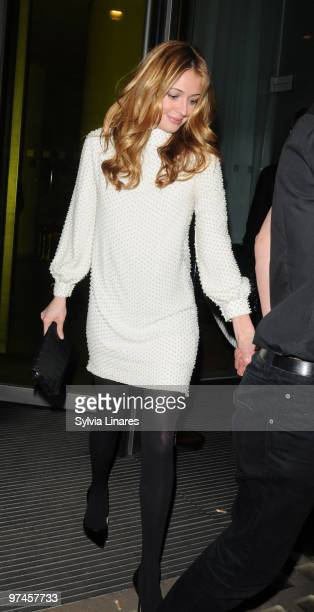 Cat Deeley leaving the Lancome and Harper's Bazaar BAFTA party held at St Martin's Lane Hotel on February 19 2010 in London England