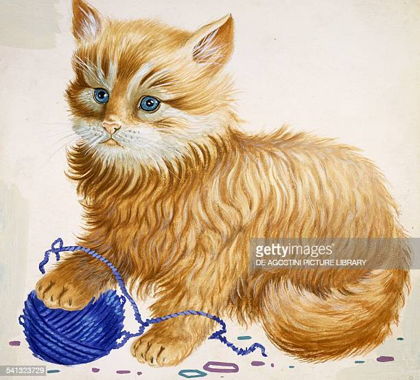 Cat Domestic cat or Housecat playing with a wool ball Felidae drawing