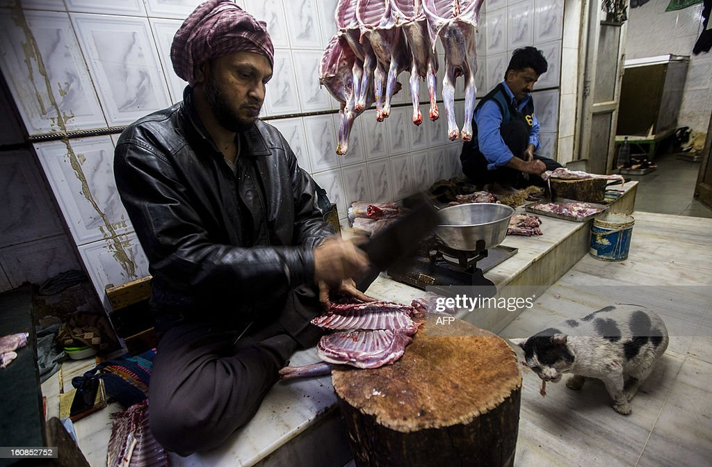 A cat eats meat as an Indian butcher works in the Old Quarters of New Delhi on February 7, 2013. Emerging economies are set to grow faster than the developed economies over the next four decades and India is likely to become one of the three largest economies by 2050, said a Pricewaterhouse Coopers report. AFP PHOTO/ Andrew Caballero-Reynolds