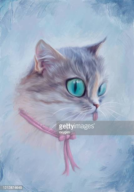 cat girl portrait with lagge eyes and sticking out tongue. digital illustration imitating oil painting on canvas - caricature stock pictures, royalty-free photos & images