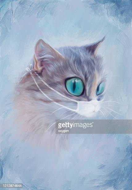 cat girl portrait with lagge eyes on medical mask virus. covid-19digital illustration imitating oil painting on canvas - mask cartoon characters stock pictures, royalty-free photos & images