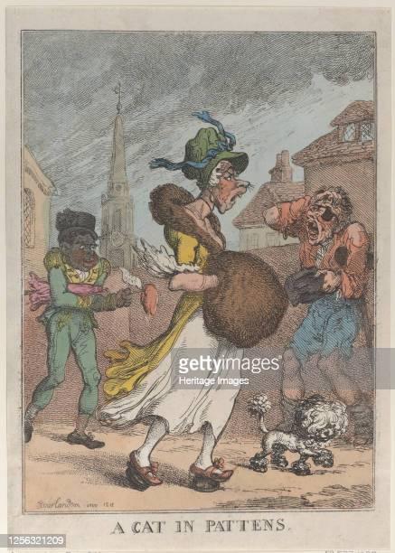 Cat in Pattens, 1812. Artist Thomas Rowlandson.