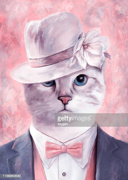 cat man portrait with blue eyes on hat with magnolia flower fine art. digital illustration imitating oil painting on canvas - purple suit stock pictures, royalty-free photos & images