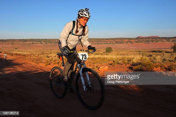 Cat Morrison of Grand Junction Colorado rides to victory in the US 24 Hour Mountain Bike National Championship in the women's solo single speed...