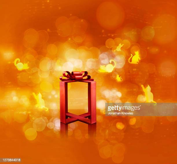 cat pattern and red gift frame - animal representation stock pictures, royalty-free photos & images