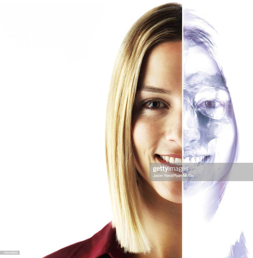 Cat scan of half of woman face, portrait (Digital Composite) : Stock Photo