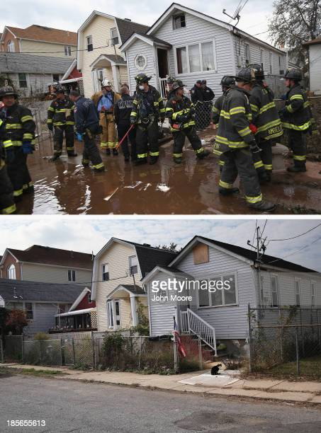Firemen gather outside a house where the bodies of two elderly people were reportedly found on November 2 2012 in the Midland Beach section of the...