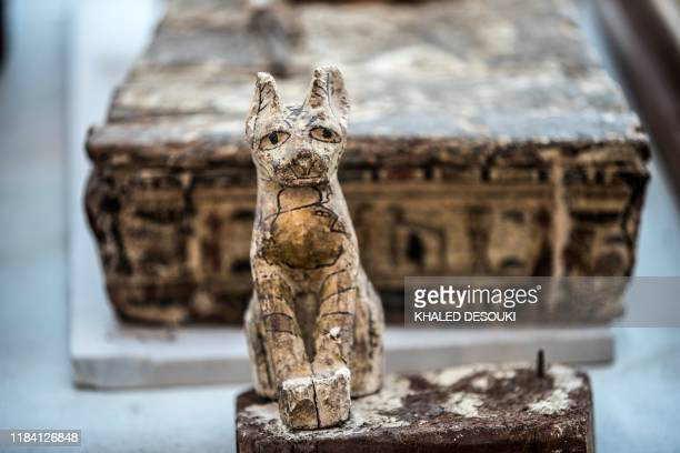 A cat statue is displayed after the announcement of a new discovery carried out by an Egyptian archaeological team in Giza's Saqqara necropolis south...