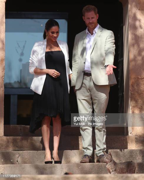A cat strays across the path of the Duke and Duchess of Sussex during a social entrepreneurs event and market at the Andalusian Gardens in Rabat on...