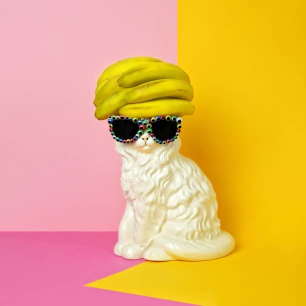 Cat wearing sunglasses and banana wig/hat