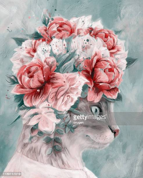 cat woman portrait with bouquet flowers. digital illustration imitating oil painting on canvas - rose colored stock pictures, royalty-free photos & images