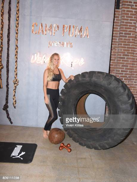 Cat Wright attends PUMA Hosts CAMP PUMA To Launch Their Newest Women's Collection Velvet Rope at Goya Studios on August 3 2017 in Los Angeles...