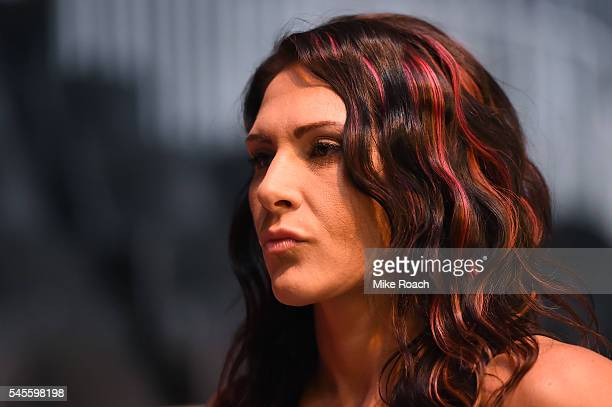 Cat Zingano hangs out backstage during the UFC 200 weighin at TMobile Arena on July 8 2016 in Las Vegas Nevada
