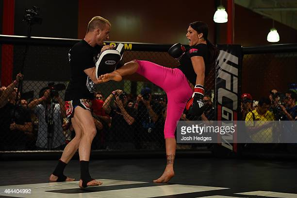 Cat Zingano holds an open training session for fans and media at the UFC Gym on February 24 2015 in Torrance California