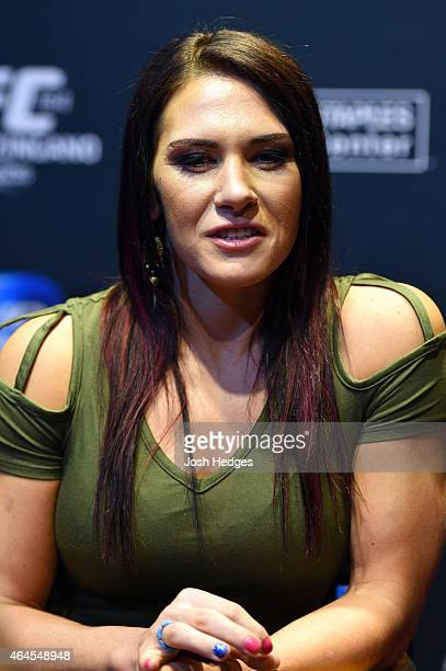 Cat Zingano interacts with media during the UFC 184 Ultimate Media Day at Club Nokia on February 25 2015 in Los Angeles California