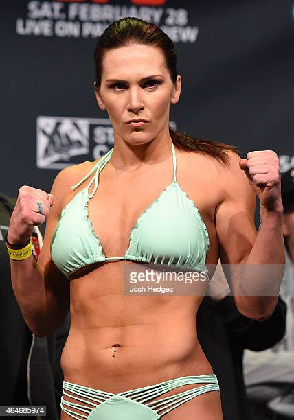 Cat Zingano poses for photos during the UFC 184 weighin at the Event Deck and LA Live on February 27 2015 in Los Angeles California