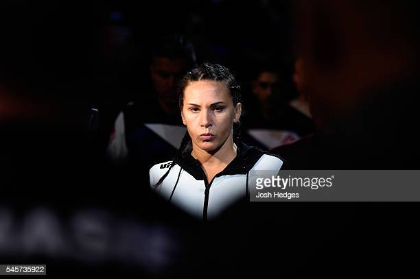 Cat Zingano prepares to face Julianna Pen in their women's bantamweight bout during the UFC 200 event on July 9 2016 at TMobile Arena in Las Vegas...