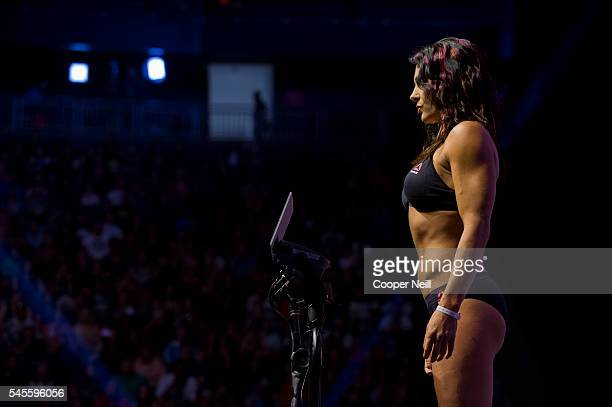 Cat Zingano stands on the scale during the UFC 200 weighins at TMobile Arena on July 8 2016 in Las Vegas Nevada