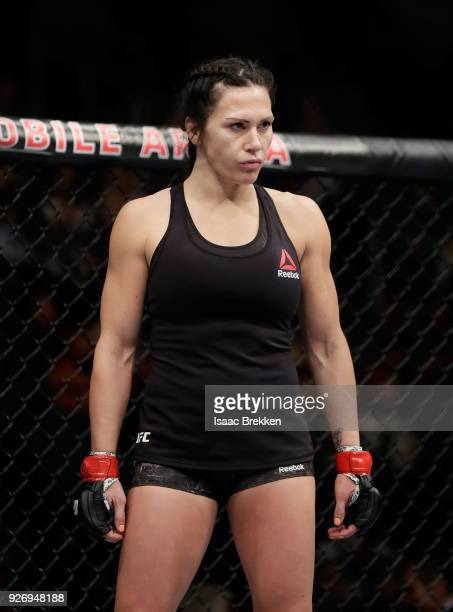 Cat Zingano waits for a round to begin during a women's bantamweight bout during UFC 222 at TMobile Arena on March 3 2018 in Las Vegas Nevada