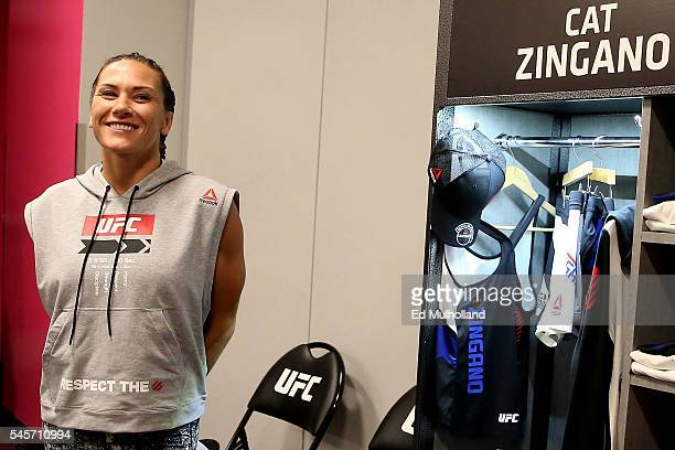 Cat Zingano warms up backstage during the UFC 200 event on July 9 2016 at TMobile Arena in Las Vegas Nevada
