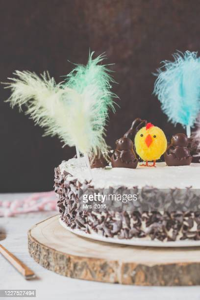 catalan easter cake with feathers and chick decorations - easter cake stock pictures, royalty-free photos & images