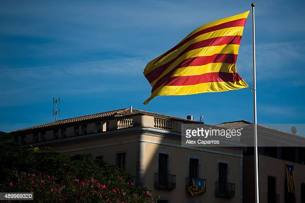 A catalan flag is seen on September 24 2015 in Girona Spain Over 5 million Catalans will be voting in Parliamentary elections on September 27 with...