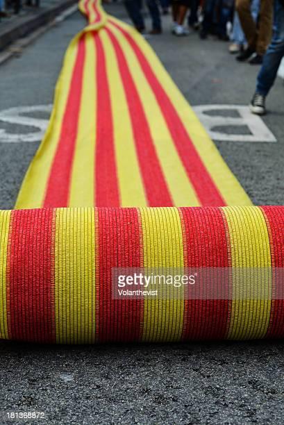 Catalan flag roll in Passeig de Gràcia, Barcelona