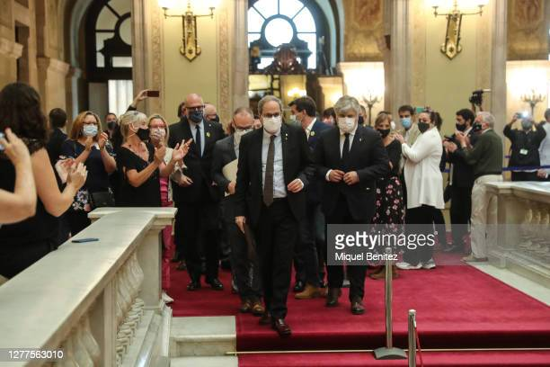 Catalan Former 131th president of the Generalitat of Catalonia, Quim Torra leaves from a plenary session at Catalan Parliament on September 30, 2020...