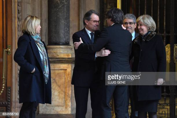 Catalan Government Carles Puigdemont welcomes former President of the Catalan Government and leader of Partit Democrata Europeu Catala PDECAT Artur...