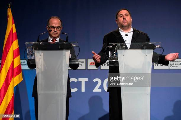 Catalan government spokesman Jordi Turull and leader of the leftwing party Esquerra Republicana Catalan regional vicepresident and chief of Economy...